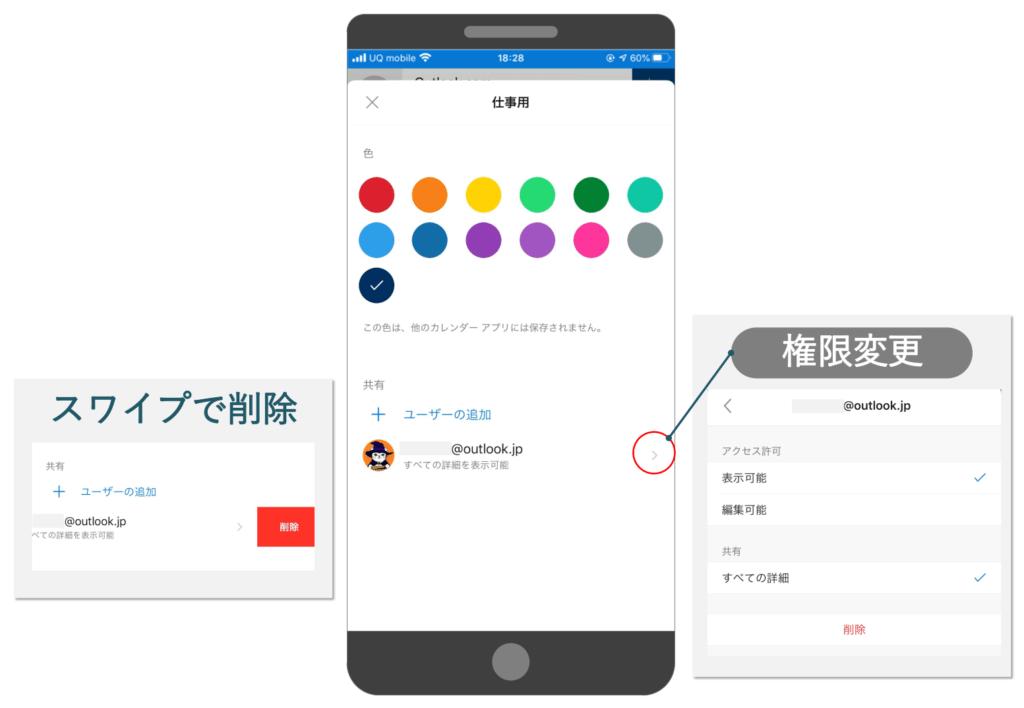 Outlook mobileでカレンダーの共有権限を変更または削除する
